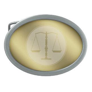 Escalas del símbolo de oro de la ley de la hebillas cinturon ovales