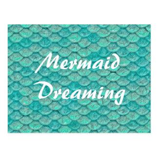 Escalas del verde de mar de la sirena tarjetas postales