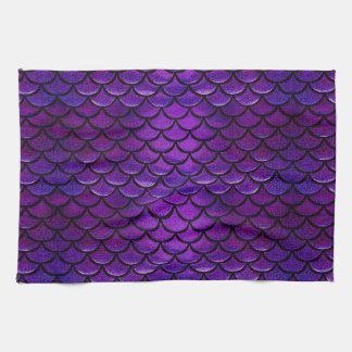 Escalas púrpuras y azules de Falln de la sirena Toallas De Cocina