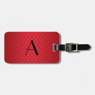 Escalas rojas del dragón del monograma etiquetas maletas