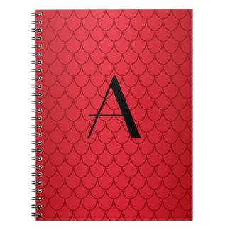 Escalas rojas del dragón del monograma cuadernos