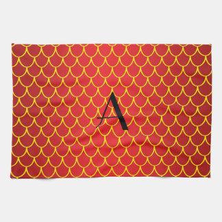 Escalas rojas del dragón del monograma toalla de mano