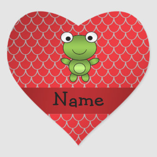 Escalas rojas personalizadas del dragón de la rana colcomanias corazon personalizadas
