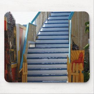 Escalera azul Mousepad Alfombrilla De Ratones