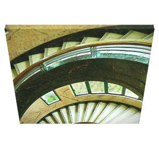 Escalera blanca de la casa barco impresión en lienzo