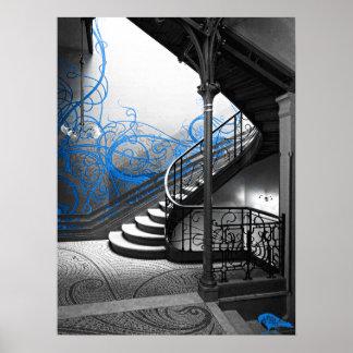 Escalera blanco y negro del art déco con el azul poster