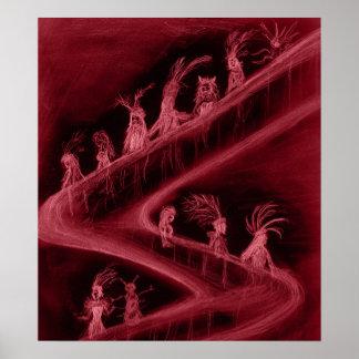 Escalera de la locura (roja) póster