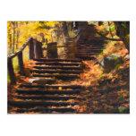 Escalera de piedra en postal del otoño