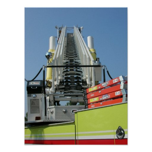 Escalera del coche de bomberos póster