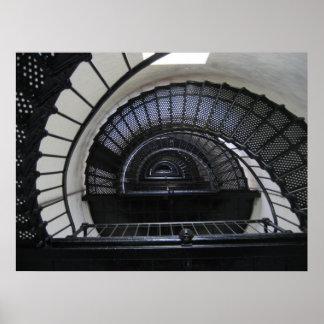 Escalera del faro de la isla de Bodie Póster