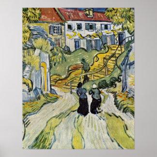 Escalera en Auvers de Vincent Willem Van Gogh Póster