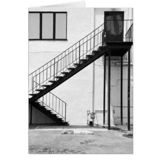 Escalera en blanco y negro tarjeta pequeña