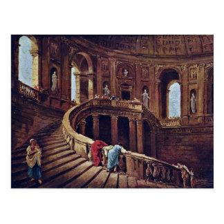 Escalera en el castillo de Caprarola por el eje de Tarjetas Postales