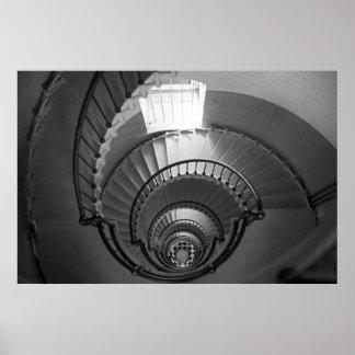 Escalera espiral de B W Posters