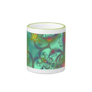 Escalera Jeweled - caleidoscopio esmeralda abstrac Taza De Café