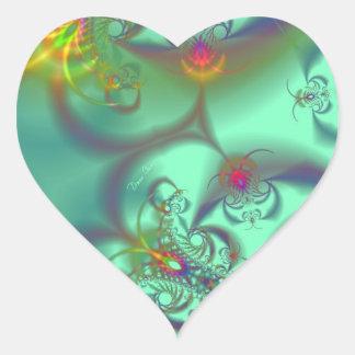 Escalera Jeweled - caleidoscopio esmeralda Pegatina En Forma De Corazón