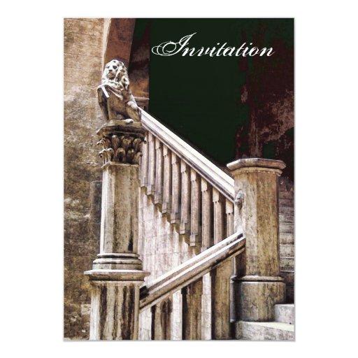 Escalera oscura misteriosa de la invitación gótica invitación 12,7 x 17,8 cm