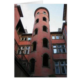 Escalera rosada de la torre tarjeta de felicitación