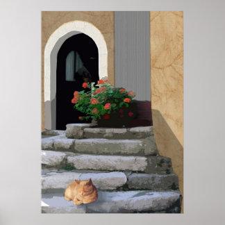 Escaleras antiguas con la planta y el gato póster