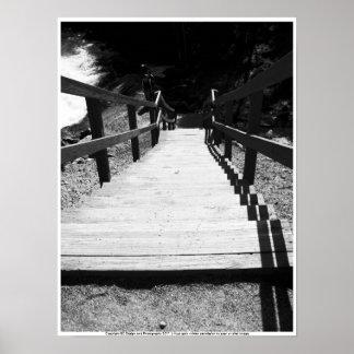 Escaleras blancos y negros póster
