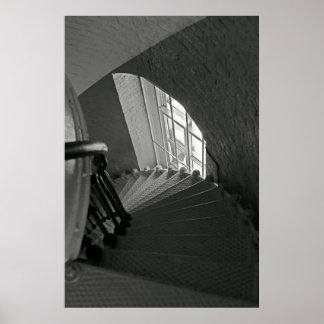 Escaleras de B&W Póster