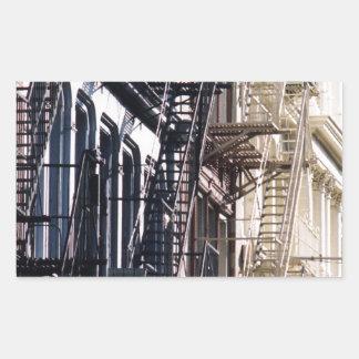 escaleras de incendios del soho rectangular pegatina