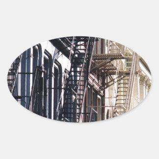 escaleras de incendios del soho calcomania de óval