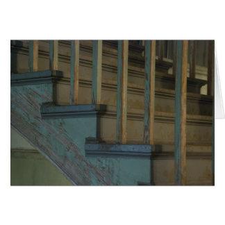 Escaleras de madera verdes viejas tarjeta de felicitación