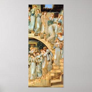 Escaleras de oro por la impresión de Edward Burne Posters