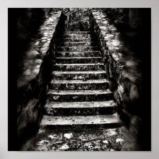 escaleras de piedra oscuras impresiones