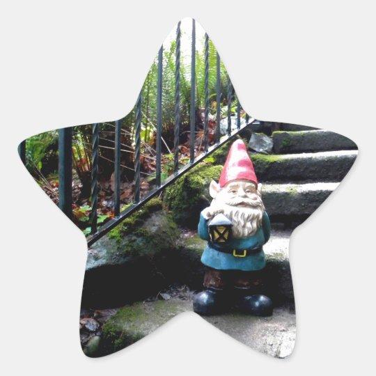 Escaleras del gnomo pegatina en forma de estrella
