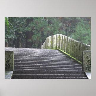Escaleras en Mt. Kurama Póster