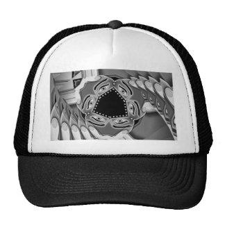 Escaleras espirales abstractas con los ojos en el  gorra