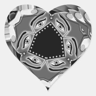 Escaleras espirales abstractas con los ojos en el pegatina en forma de corazón