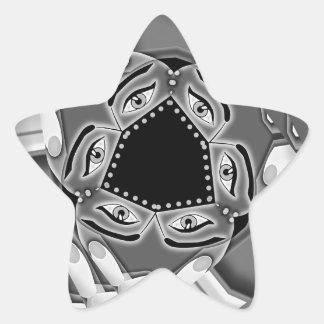 Escaleras espirales abstractas con los ojos en el pegatina en forma de estrella