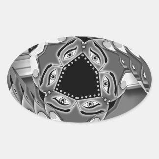 Escaleras espirales abstractas con los ojos en el pegatina ovalada