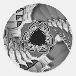 Escaleras espirales abstractas con los ojos en el pegatina redonda
