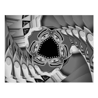 Escaleras espirales abstractas con los ojos en el  postales