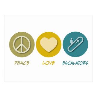 Escaleras móviles del amor de la paz postal