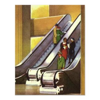 """Escaleras móviles retras del almacén grande de las invitación 4.25"""" x 5.5"""""""