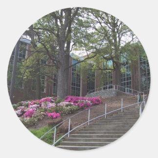 Escaleras que llevan hacia el edificio biomédico pegatina redonda
