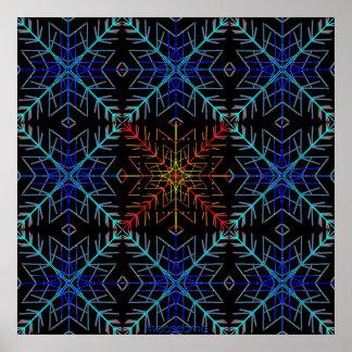Escamas 36x36 del azul y del rojo póster