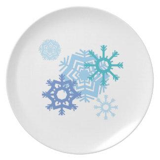 Escamas de la nieve platos de comidas