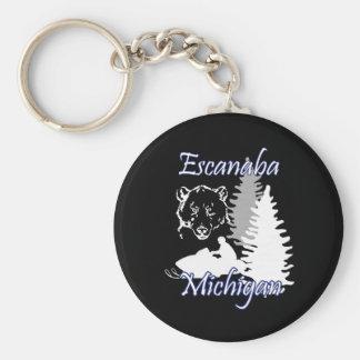Escanaba Michigan Snowmobile Bear Basic Keychain