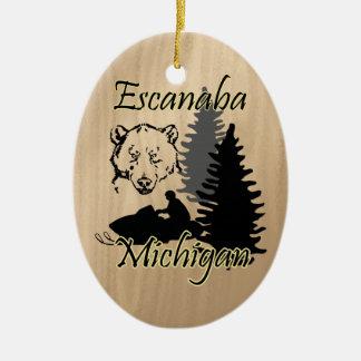 Escanaba Michigan Snowmobile Bear Ceramic Double-Sided Oval Ceramic Christmas Ornament