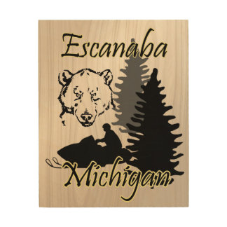 Escanaba Michigan Snowmobile Bear Wood Art