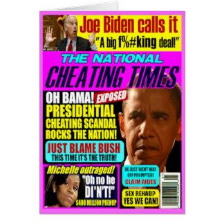 Escándalo de engaño de Obama Tarjeta De Felicitación