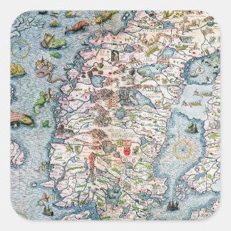 Escandinavia, detalle del puerto deportivo de pegatinas cuadradases