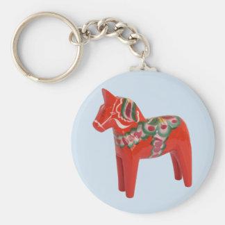 Escandinavo del caballo de Dala del sueco Llavero Redondo Tipo Pin