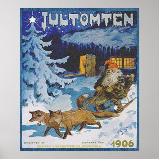 Escandinavo Jultomten del vintage 1906 en trineo Impresiones